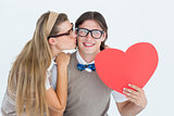Smiling geeky hipster and his girlfriend