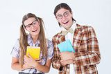 Geeky hipsters smiling at camera