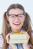 Geeky hipster smiling at camera