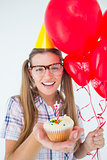 Geeky hipster celebrating birthday party