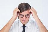 Furious geeky businessman