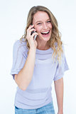 Smiling woman calling with her smartphone