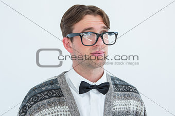 Thoughtful geeky hipster