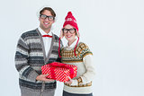 Geeky hipster couple holding present