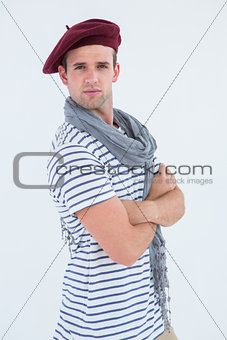 French guy with beret looking at camera