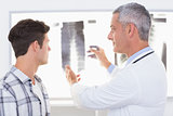Doctor explaining X rays to his patient