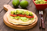 Tortilla with Lettuce, Avocado and Tomato