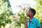 Little boy blowing bubbles in the park