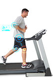 Composite image of full length of a young man running on a treadmill
