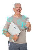 Composite image of cheerful senior man with water bottle and scales