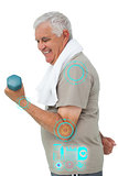 Composite image of side view of a senior man exercising with dumbbell