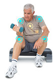 Composite image of full length of a senior man exercising with dumbbell