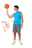 Composite image of full length of a basketball player with ball