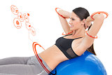 Composite image of side view of a fit woman stretching on fitness ball