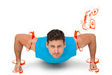 Composite image of portrait of a determined man doing push ups