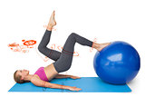 Composite image of side view of a fit woman exercising with fitness ball