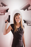 Composite image of femme fatale pointing gun up