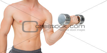 Fit shirtless man lifting dumbbell