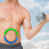 Composite image of fit shirtless man lifting dumbbell