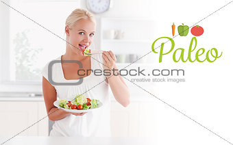 Paleo against blonde woman eating a salad