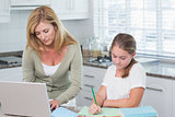 Mother using laptop while daughter doing homework