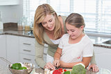 Mother and daughter preparing salad together