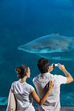 Couple taking photo of shark