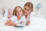 Mother and daughter reading book together on bed