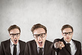 Composite image of nerdy businessman shouting