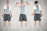 Composite image of nerd working out
