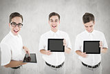 Composite image of nerd with tablet pc