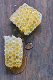 Honeycomb and honey drops