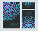 Business cards with neon ornaments