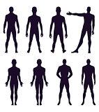 Full length front, back silhouette of man