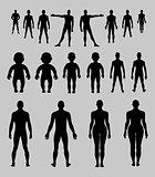 Full length front, back human silhouette set