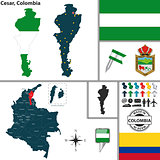Map of Cesar, Colombia