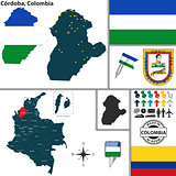 Map of Cordoba, Colombia