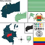 Map of Meta, Colombia