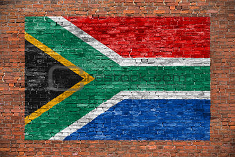 Flag of Republic of South Africa painted over brick wall