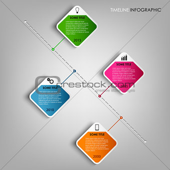 Time line info graphic colored square design element