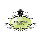 abstract green vector logo for perfumes