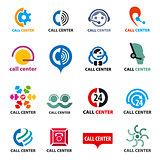big set of vector logos call center