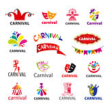 big set of vector logos carnival