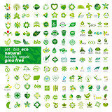 big set of vector logos ecology, health, natural