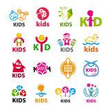 large collection of vector logos children