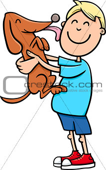 boy with puppy cartoon
