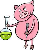 piglet at chemistry cartoon illustration