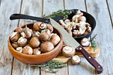Mushrooms in bowl and pan