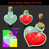 Vector illustration. Magic elixir in different colors with a woo