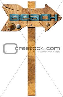 Beach - Wooden Directional Sign